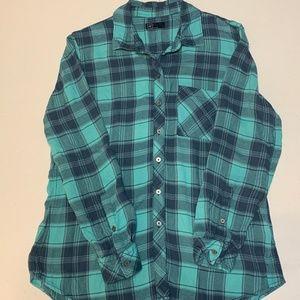 GAP Long Sleeve Plaid Shirt - Women's L